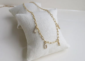 Diamond Letter/ Word Necklace - Gold Filled