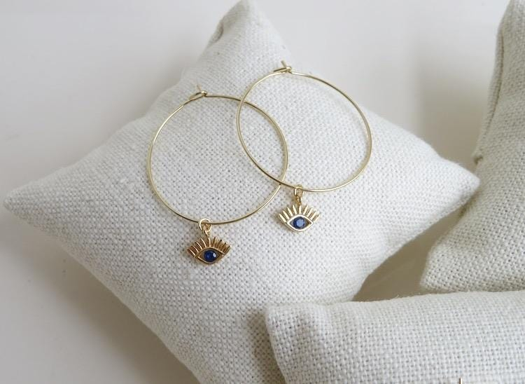 Petite Evil Eye Hoop Earrings - HS19