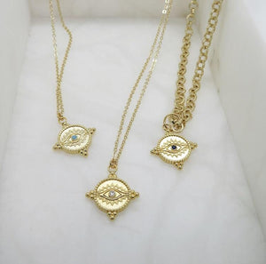 Gold Evil Eye Pendant Necklace