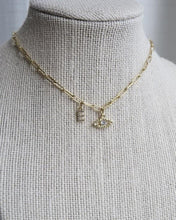 Load image into Gallery viewer, Diamond Evil Eye & Initial Clip Chain Necklace
