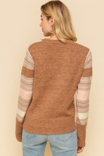 COLOR MIX SWEATER, BROWN