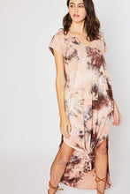 TIE DYE MAXI JERSEY DRESS, CLAY