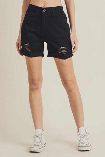 HIGH WAIST BOYFRIEND SHORTS, BLACK