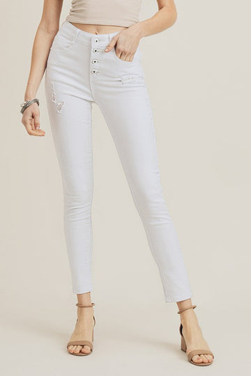HIGH WAIST, BUTTON FLY SKINNY JEANS, WHITE