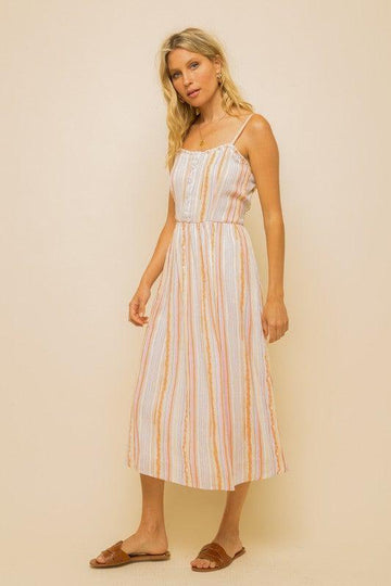 KASEY STRIPED DRESS, MULTI-COLOR