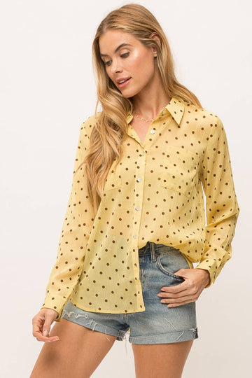 Polka Dot Button-Down, Lemon