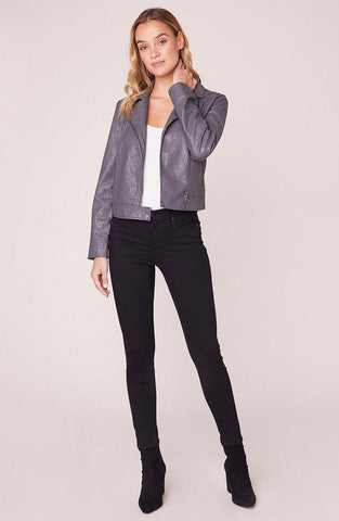 TAKE IT FOR A SPIN VEGAN LEATHER MOTO JACKET, CHARCOAL