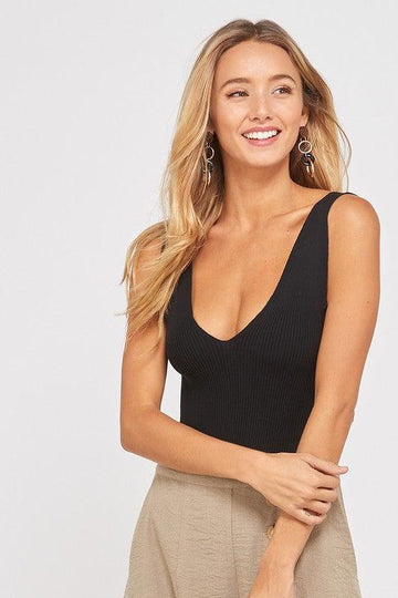 V-Neck Ribbed Bodysuit, Black
