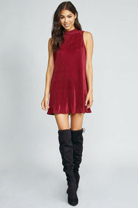 VELVET ROPE MINI DRESS, WINE