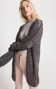 SPIRIT IN THE SKY CARDIGAN, DARK HEATHER GREY