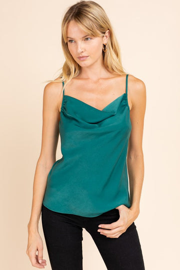 COWL NECK CAMI TOP, HUNTER GREEN