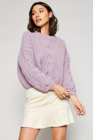 AZALEA OVER-SIZED CROPPED SWEATER, LAVENDER
