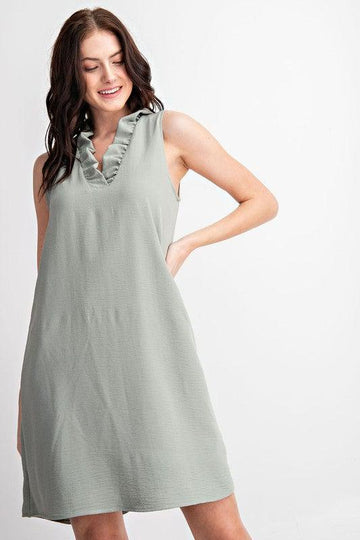 SLEEVELESS DRESS, SAGE