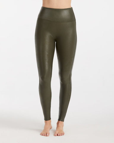 FAUX LEATHER LEGGINGS, RICH OLIVE