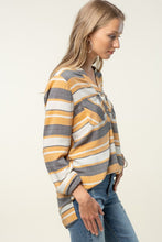 STRIPED SHIRT W/ POCKET, MUSTARD