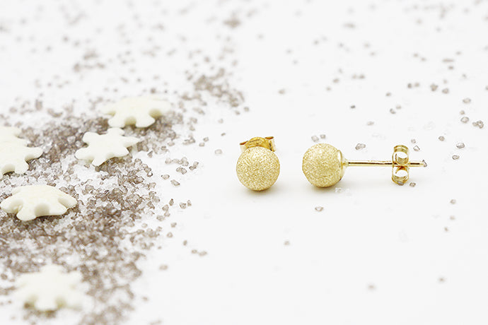 18Kt 6.0mm Textured Ball Stud Earrings- Yellow Gold
