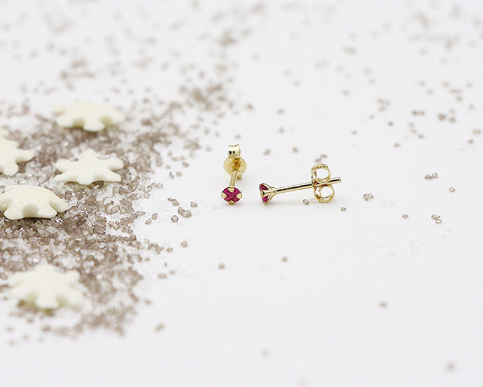 18kt 2.5mm Ruby Stud Earrings- Yellow Gold