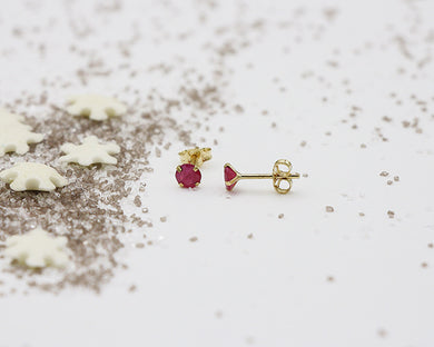 18kt 4.0mm Ruby Stud Earrings- Yellow Gold