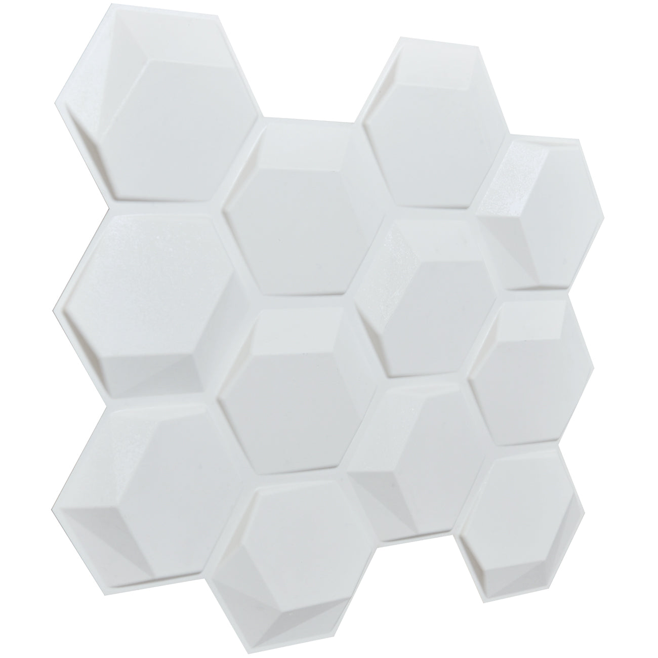 3D Plant Fiber Wall Panels, puzzle hexagon design in primed white, pack of 18 tiles cover 41 sq.ft