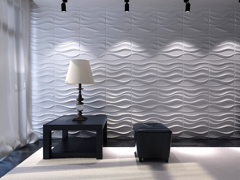 Decorative 3D Wall Panels Diamond Design, White, 12 Tiles 32 SF