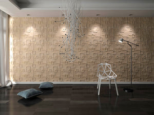 3D Textured Wainscoting 3D Wall Panels Off-white (Set of 6) 32 Sq.Ft