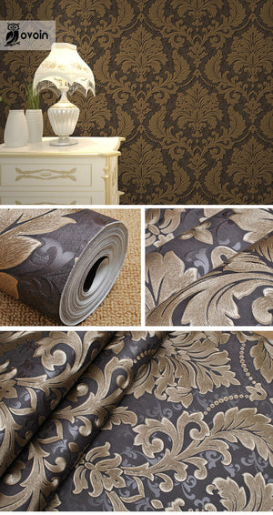 Luxury Modern Metallic 3D Damask Vinyl Wallpaper Wall Paper Bedroom Living Room Wallpapers Roll Silver Grey,Black,Red,Brown
