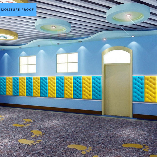 Modern DIY Self Adhesive 3D Faux Leather PE Foam Wallpaper PVC Waterproof Wall Panel Sticker Kids Room Bedroom Home Decor Decals