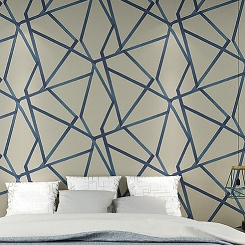 3D Geometric Wallpaper Blue Beige Wall Paper Modern Design Stripes Triangles Pattern Bedroom Living Room Home Decor