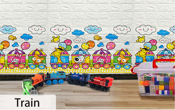 Creative 3D Faux Brick Wallpaper PE Foam Panels Anti Collision Self Adhesive Embossed Cartoon Wall Sticker Kids Room Decor Decal
