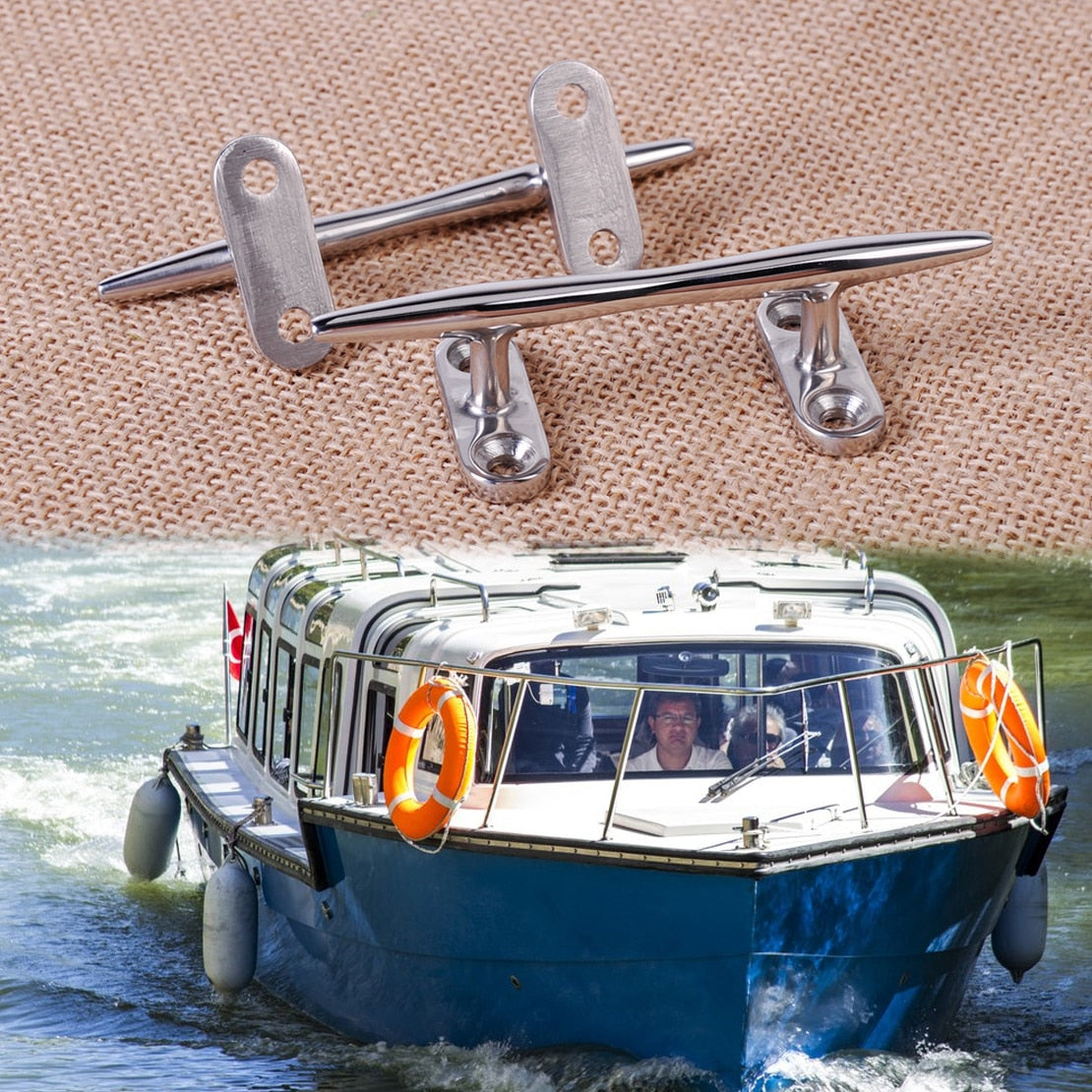 2PCS Stainless Steel Dock Deck Line Rope Cleat Tie Boat Yacht Marine Hardware Latch