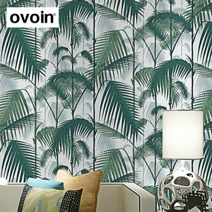 Green Tropical Jungles Palm Tree Leaves Woods Wallpaper Roll Floral Forest Natural Plant Non-woven Wall Paper For Childs Room