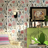 chinoiserie wallpaper Bedroom Wall Covering modern Vintage Pink Floral Wallpaper Blue Tropical Butterfly Birds Flower Wall Paper