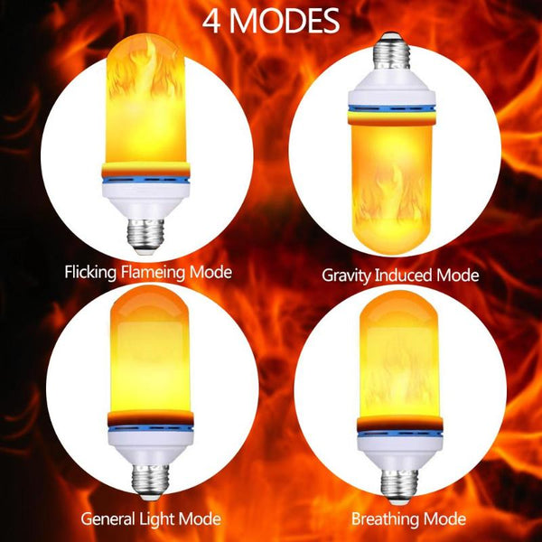 Creative 4 Modes Gravity Sensor Flame Lights E27 9W Emulation Fire Light Bulb Flickering Party Decor Lamp