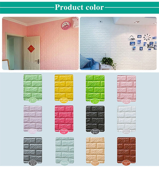 3D Wall Panel Stickers Living Room 3D Brick Wallpaper for Kids Room Bedroom Home Decor 3D Wall Covering Self adhesive Wallpaper