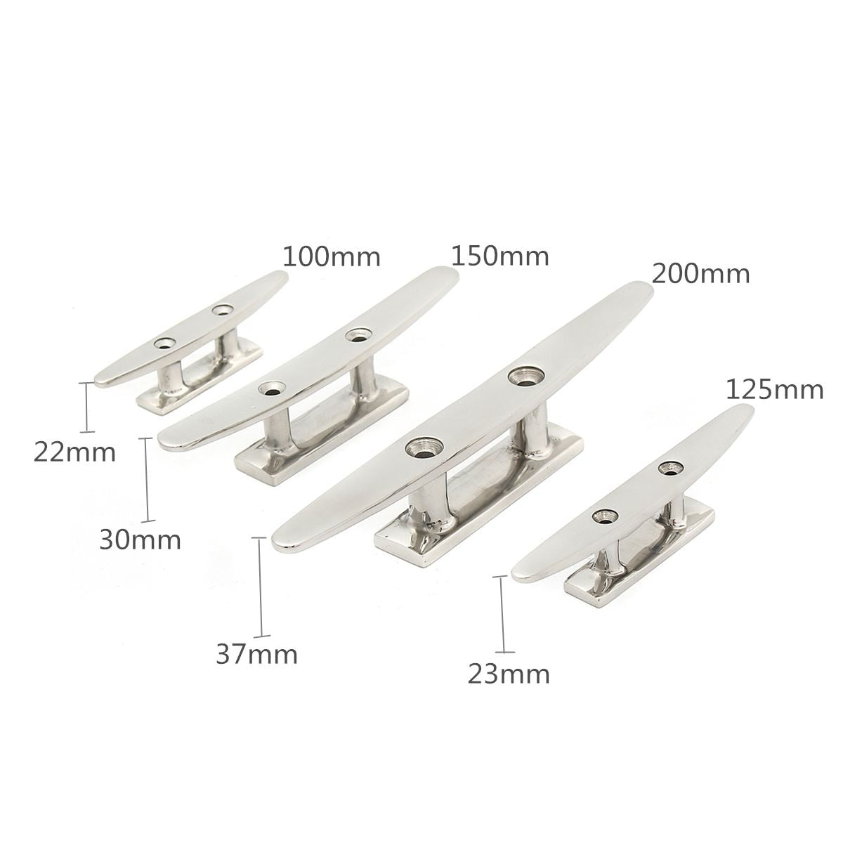 "Low Flat Cleat 316 Stainless Steel 2 Hole Hardware For Marine Boat Deck Rope Tie 4"" 5"" 6"" 8"" for All Chandlery Applications"