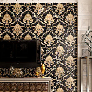 High Grade Black Gold Luxury Embossed Texture Metallic 3D Damask wallpaper for wall Roll washable Vinyl PVC Wall Paper