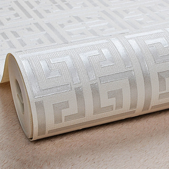Gold Greek Key Pattern White Wallpaper Modern Geometric Metallic Vinyl Wall Paper Roll Teal,Black,Silver,Rose Gold