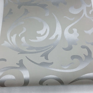 Grey 3D Victorian Damask Embossed Wallpaper Roll Home Decor Living Room Bedroom Wall Coverings Silver Floral Luxury Wall Paper