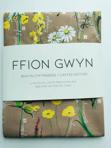 Ffion Gwyn - Heritage Tea Towel Collection - Wild Flowers / Blodau Gwyllt