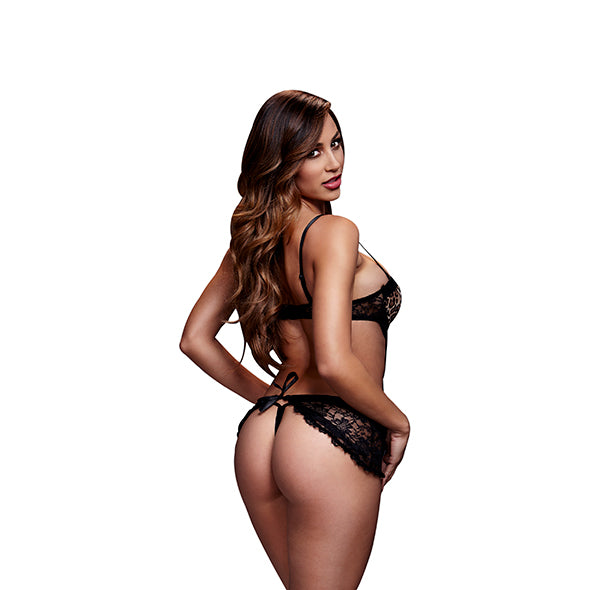 Baci Lace Cut Out Basque Zonder Panty Luipaard