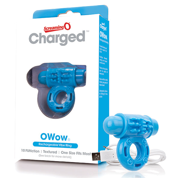 The Screaming O Charged OWow Oplaadbare Vibrerende Penisring Blauw