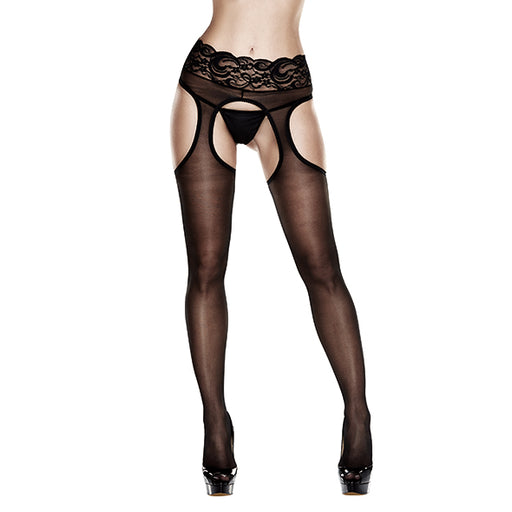 Baci Sheer Crotchless Lace Top Suspender Hose Queen Size