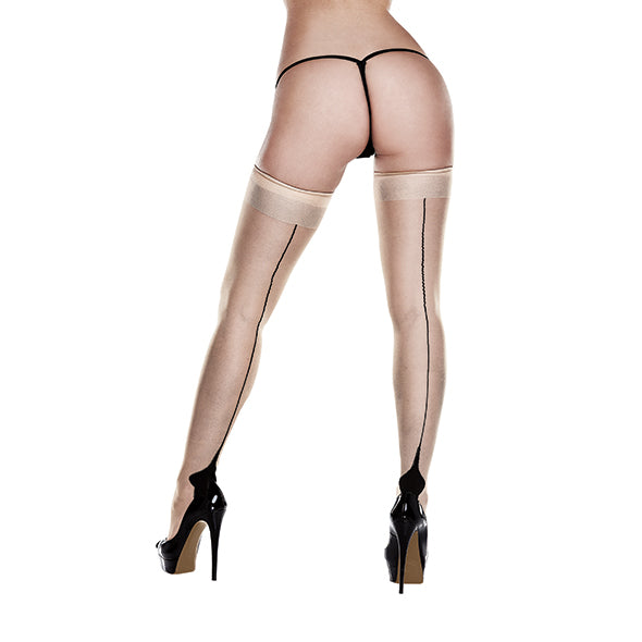 Baci Nude Opaque Cuban Heel Thigh Highs Queen Size
