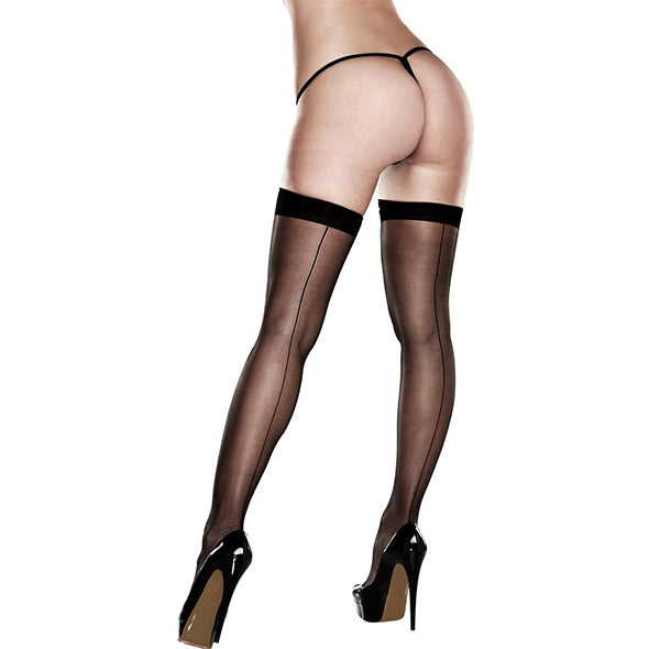 Baci Sheer Thigh Highs With Backseam With Banded Silicone Stay-Up Queen S