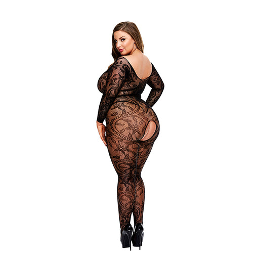 Baci Longsleeve Crotchless Bodystocking Queen Size
