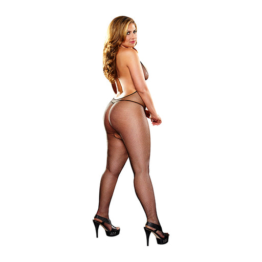 Lapdance Deep V Kruisloze Bodystocking Zwart Plus Size