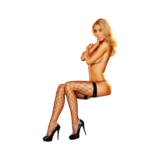 Lapdance Visnet Sexy Kousen Thigh High Zwart One Size
