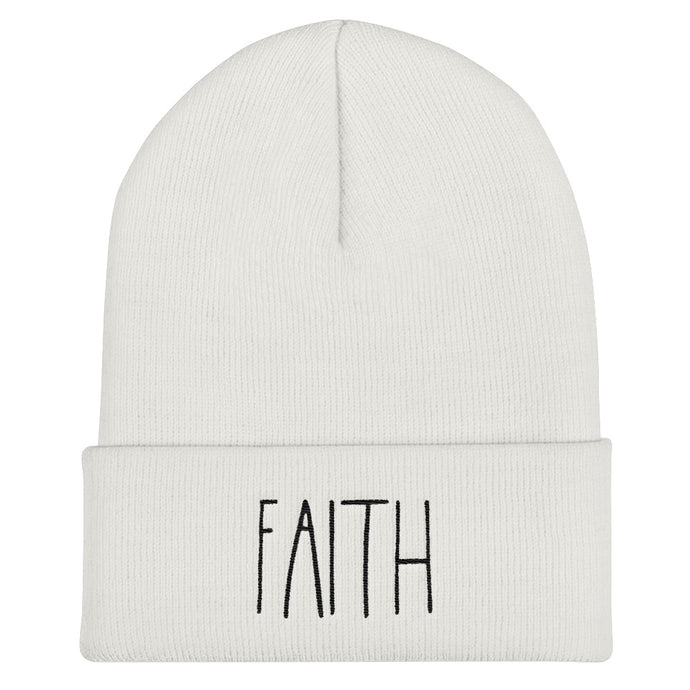Faith Embroidered Cuffed Beanie
