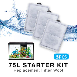 [Resun] 3pcs Replacement Filter Wool for 75L Starter Aquarium Fish Tank | SMX450/550/1000 Hang-On Filter