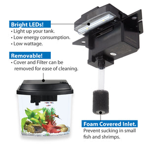 [Resun] 3.8L/9.5L Tabletop Aquarium Fish Tank (with LED Lights and Filter)